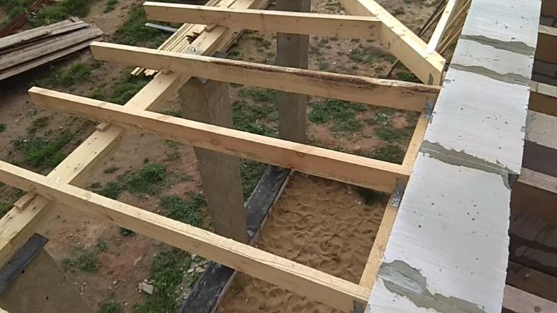 Видео. Каркас крыши террасы