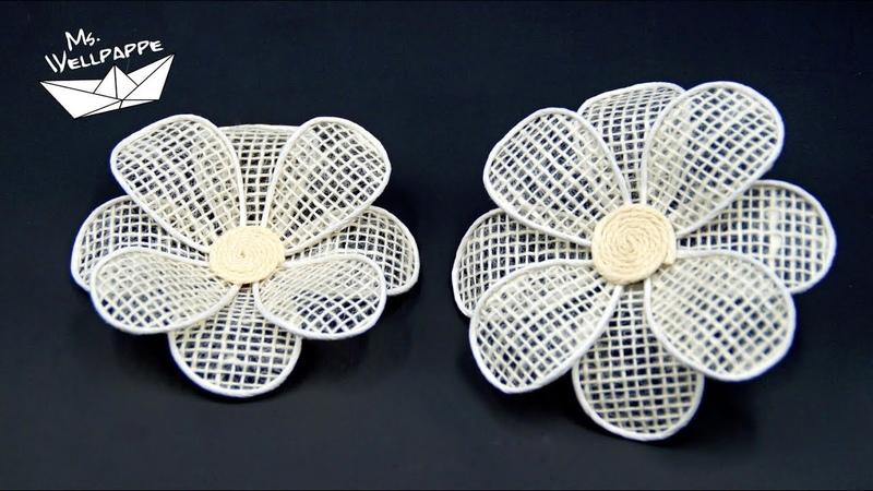 Blumen aus Juteband basteln - schöne Deko selber machen - DIY