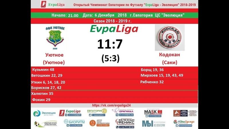 Futsal EvpaLiga 6.12.2018 Уютное (Уютное) - Кодокан (Саки)