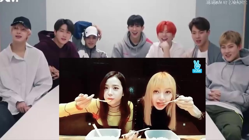 MONSTA X REACTION TO BLACKPINK :moments of eating