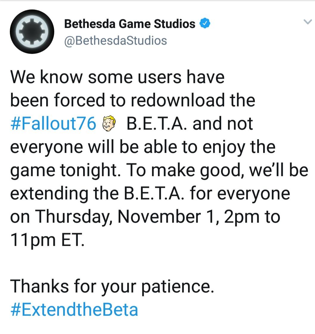 В связи с техническими проблемами этой ночью, Bethesda продлит бета тест с 1 на 2 ноября с 21 до 06 МСК
