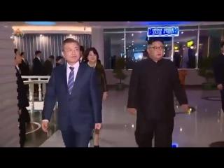 Уважаемый высший руководитель товарищ Ким Чен Ын вместе с президентом Мун Чжэ Ином ужинал (19 сентября 2018 г.)