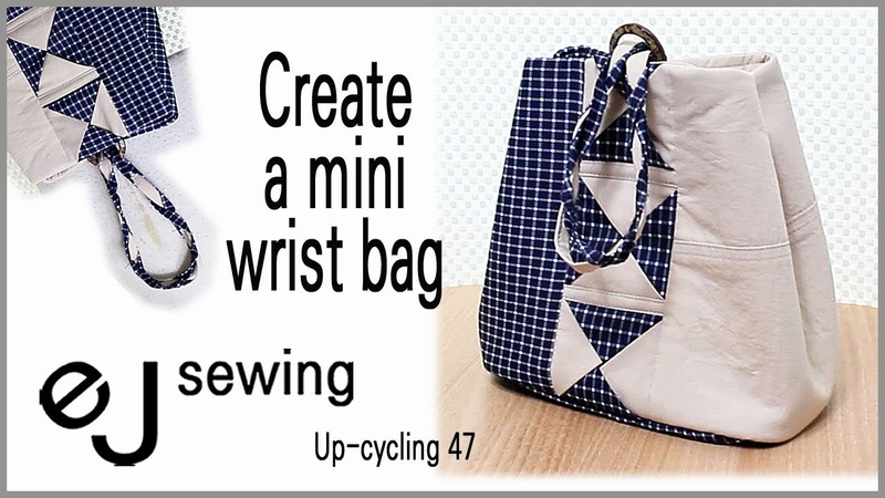 Up cycling - 47/up cycle /투톤 미니 손목가방/Create a mini wrist bag