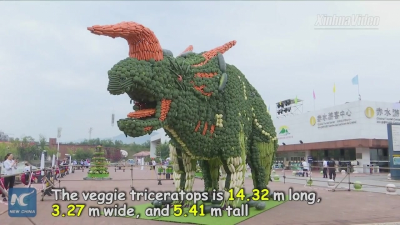 Динозавр из овощей из Книги рекордов