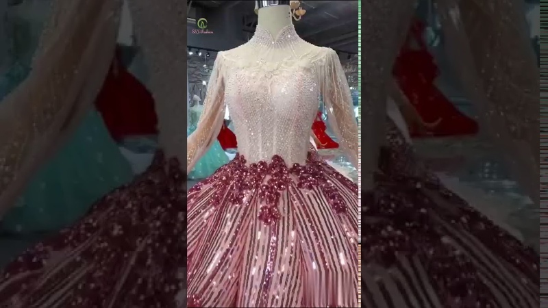 Handmade Wedding Party Gown Lace Sew With Beads Dress