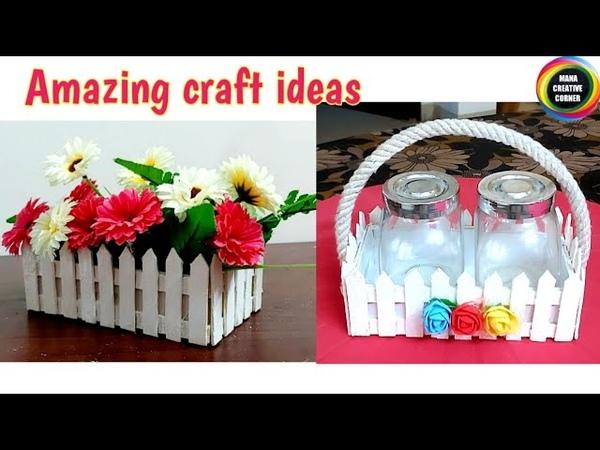 Amazing craft ideas using popsicle sticks Mobile boxFlower basket show piece usingPopsicle stick