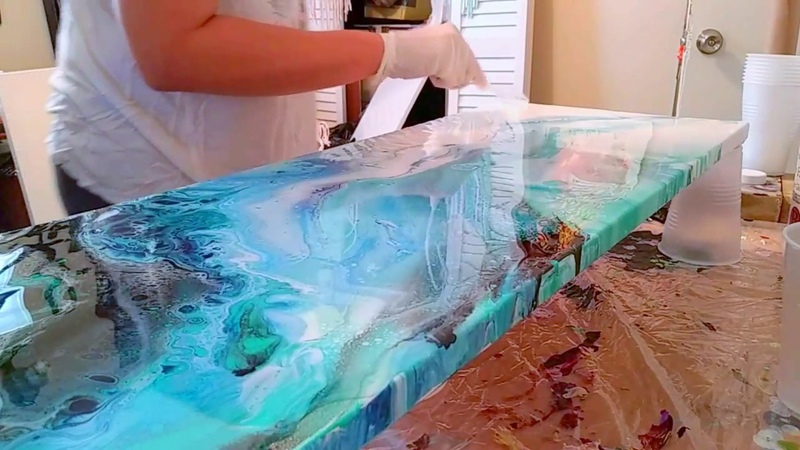 Resin over a 12x36 acrylic pour, My First Time!!
