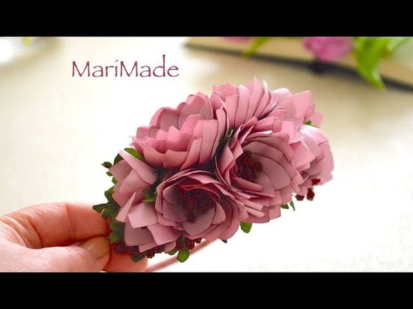 Канзаши Ободок Цветы из Ленты 2.5 см Kanzashi Flowers Headband Flores