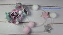 Яркие, маленькие, новогодние бантики для девочек (канзаши мк)