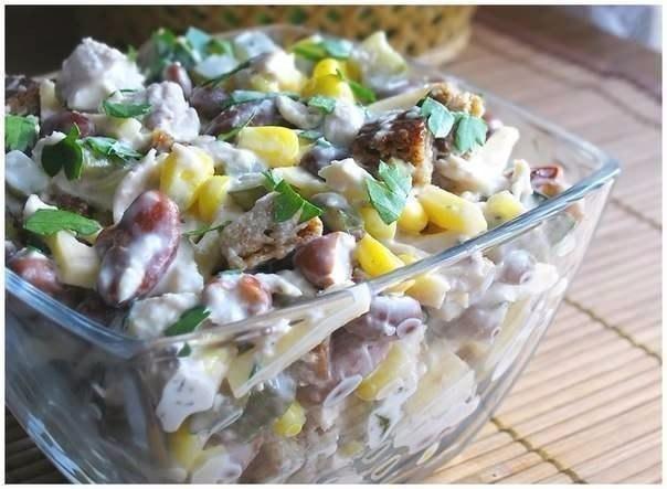 6 салатов с куриным филе.