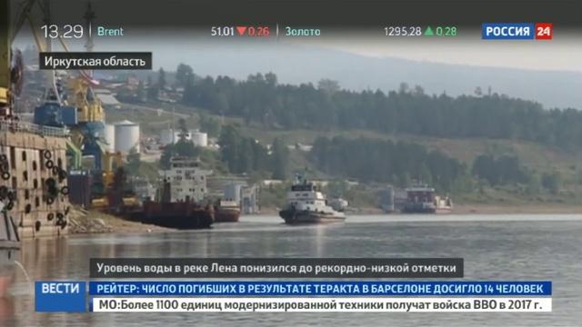 Новости на Россия 24 • Обмеление Лены угрожает крупному транспортному узлу в Иркутской области