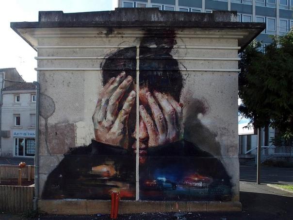 Испанский уличный художник Себас Веласко. То, что делает Себас, называется муралом. Это ну очень большое произведение искусства, чаще всего картина или граффити, нанесённое на поверхность