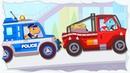 Динозавр на полицейской машинке ловит грабителей. Машинки для детей