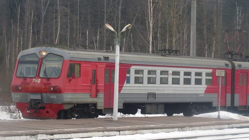 Электропоезд ЭД4М-0038 станция Бекасово-1 8.03.2019