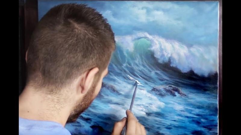 Acrylic Seascape Painting | Windy Crashing Wave