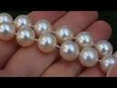 Estate BIG Natural Japanese Salt Water Akoya Pearl Diamond Necklace 14k Gold - C345