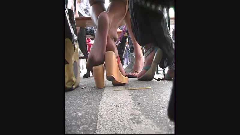 Found and filmed attractive amateur babe with dirty feet in public