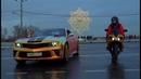 Обзор Camaro Хамелеон Хром и Золотая Yamaha R1 зимой на шипах