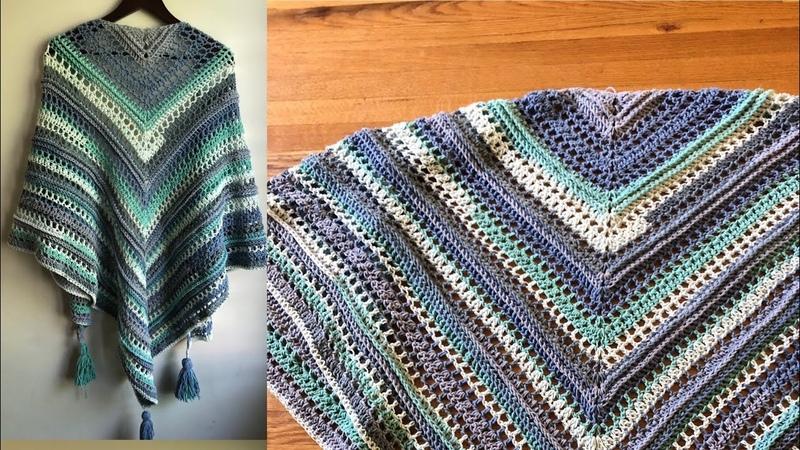 Châle au crochet Horizon bleu (création originale)