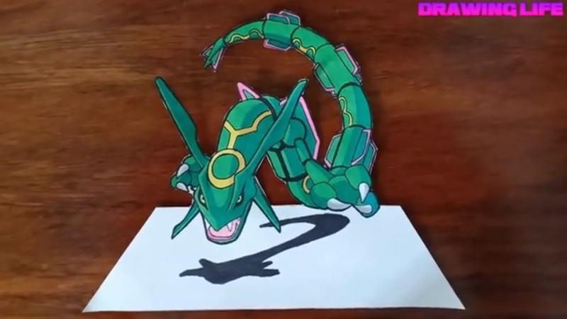 Cách vẽ Rayquaza pokemon rồng huyền thoại-drawing pokemon