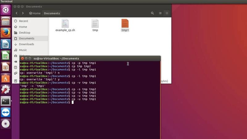 Linux команда cp - копирование файлов и папок на Ubuntu
