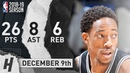 DeMar DeRozan Full Highlights Spurs vs Jazz 2018 12 09 26 Pts 8 Ast 6 Rebounds