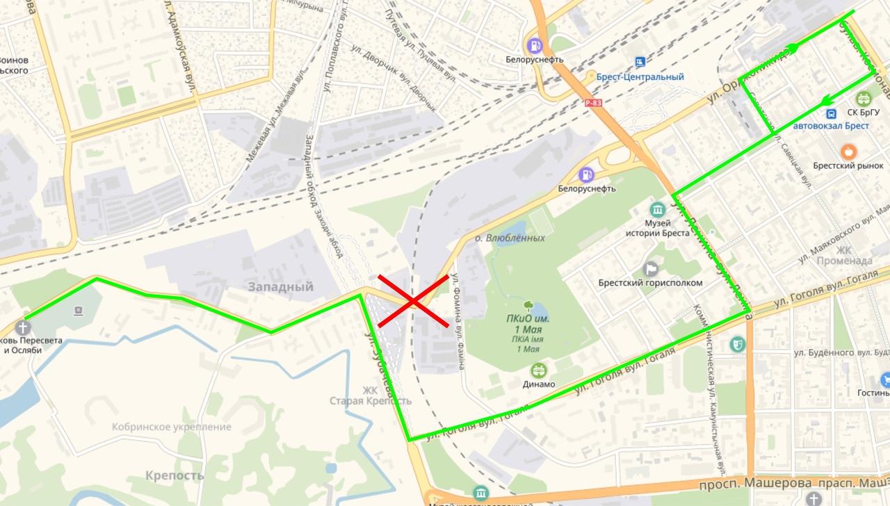 Городской автобусный маршрут №5 меняет маршрут следования
