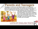 Parents and Teenagers Lots of English Texts with Audio