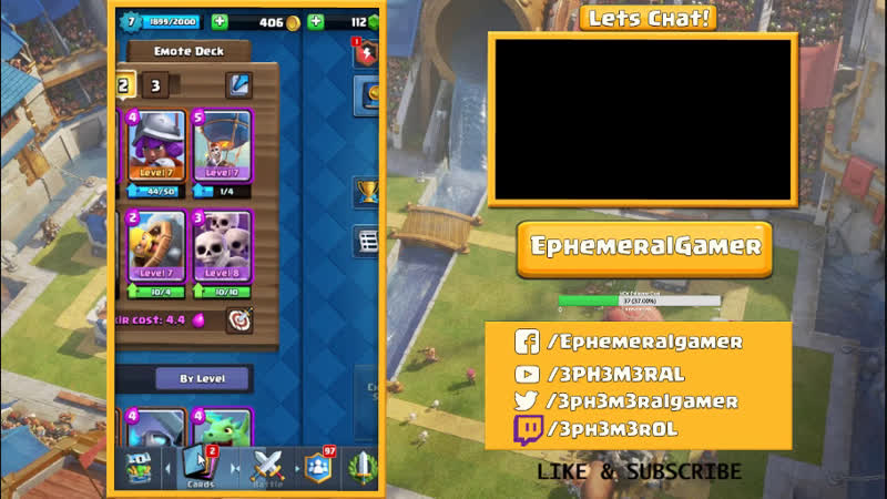 Clash Royale Play Goal to 2000 Trophies Arena 6 or 7 King Level 8 111418