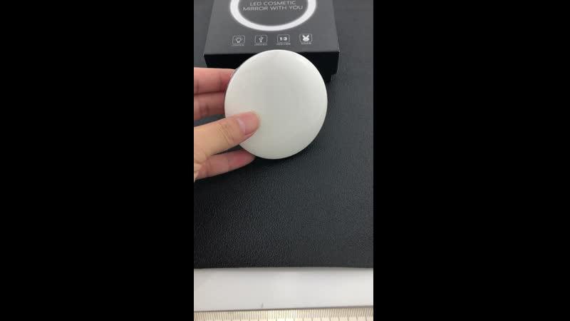 JWEIJIAO LED Lighted Mini Makeup Mirror 1X 3X Magnifying Compact Travel Portable Sensing Lighting Makeup Mirror Can Custom Photo