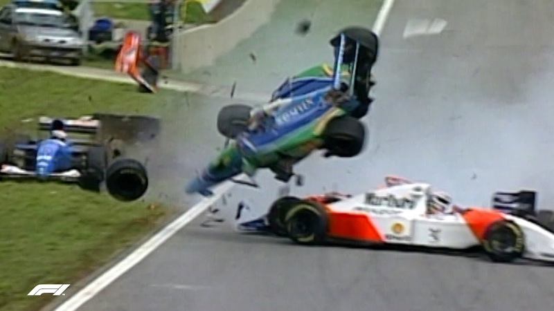Martin Brundle Escapes Four Car Pile-up | 1994 Brazilian Grand Prix