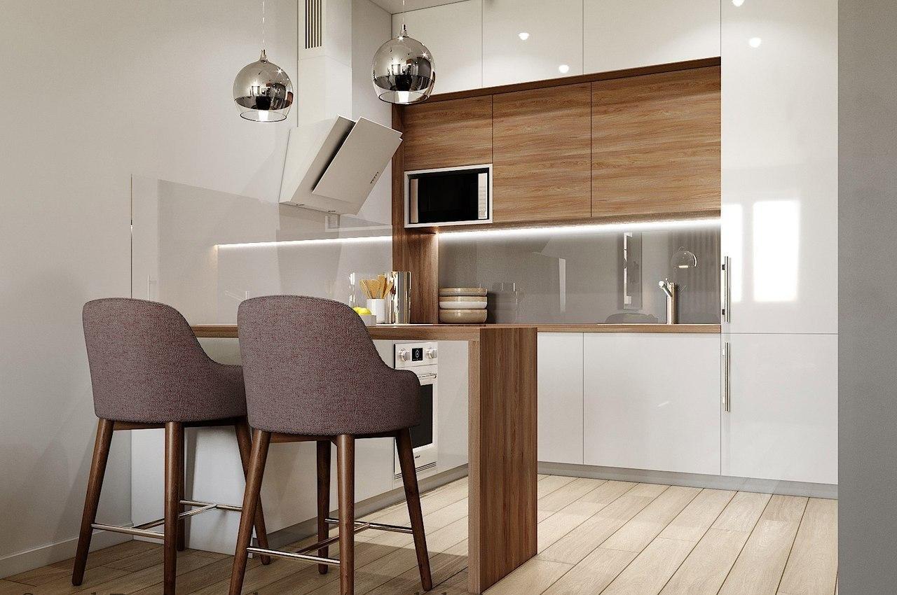 Кухня объединенная с гостиной в скандинавском стиле