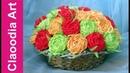 Kosz z kwiatami z krepiny (Wicker paper, roses crepe paper)
