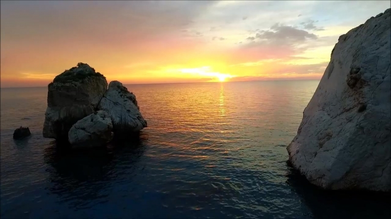 Sun set at Aphrodites Rock - Cyprus Aerial Filming