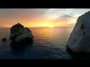 Sun set at Aphrodites Rock Cyprus Aerial Filming