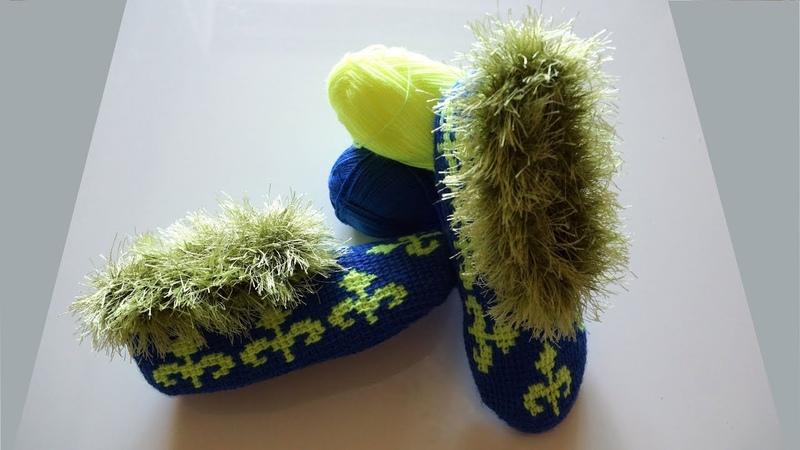 Тапочки тунисским крючком. Вязание тапочек. Тапочки крючком. Часть 2. (crochet slippers)