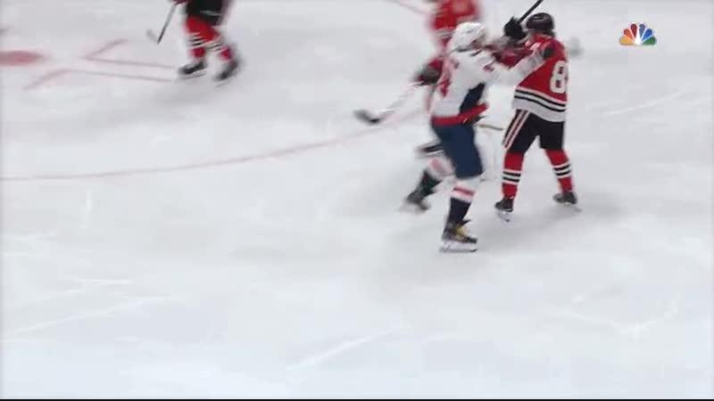 Patrick Kane hooks Alex Ovechkin in the crotch