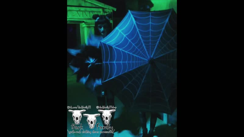 Kreepsville666 Skull Handle Spiderweb Umbrella в Dark Family