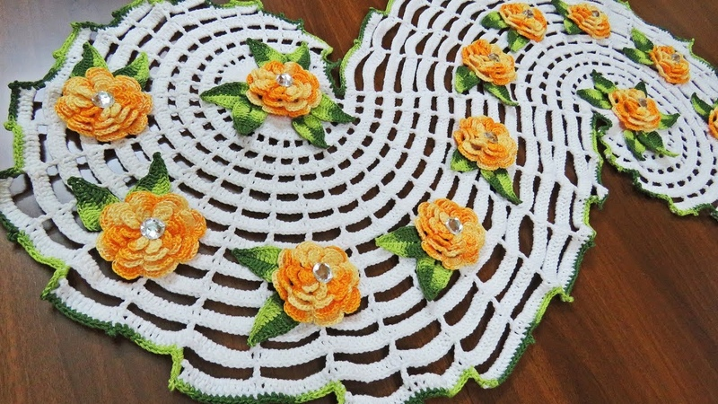 Crochet a Spiral Doily part 1 كروشيه مفرشة حلزونية رائعة الجزء ال