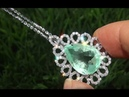Estate VS Natural Colombian Emerald Diamond 18k White Gold Pendant Necklace GEM - A141517