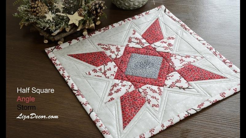 Patchwork Christmas Star - Tutorial Half Square, Storm, Angle.