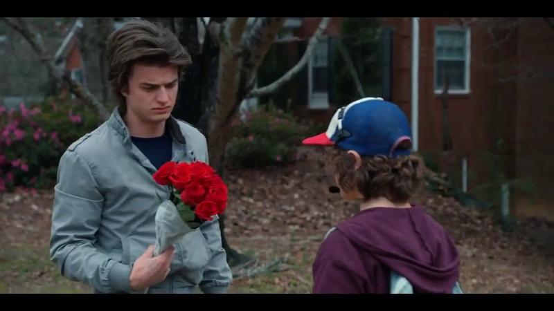 Stranger Things Season 2 Steve met Dustin when he was going to bring flowers for nancy