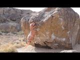 T-Rex Climbs The Hulk (V6) at the Happy Boulders