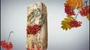 Ваза из пакета сока тетрапака и гипса с текстурой дерева Ваза из бросового материала