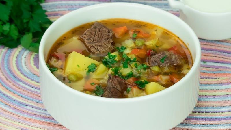 Все хором просят добавку Суп с говядиной и овощами очень вкусное и ароматное блюдо