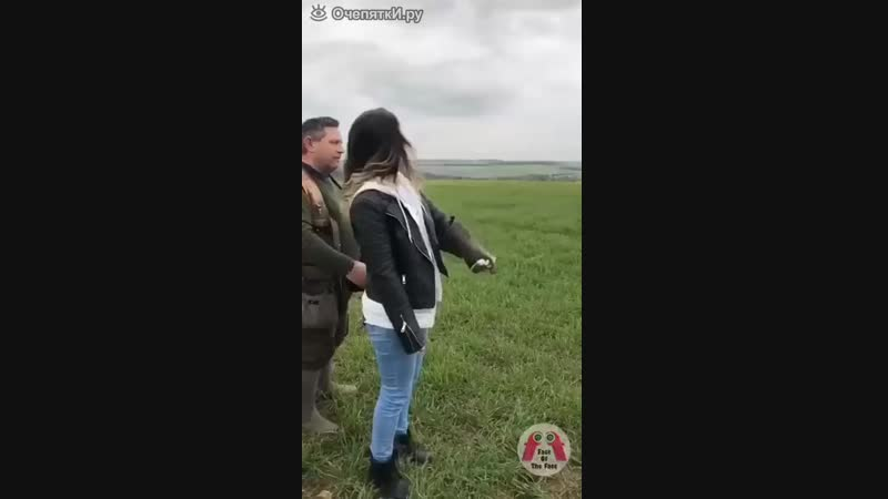 Орёл прилетел на руку к девушке
