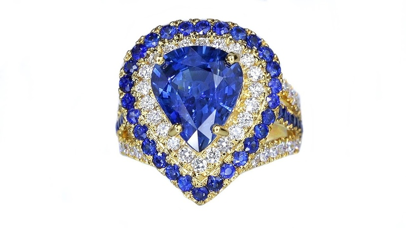 GIA Certified Top Gem Blue Sapphire and Diamond Cocktail Estate Ring Solid 14k Gold