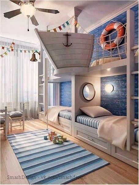 Детские комнаты в морском стиле с двухуровневыми акцентами