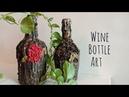 Wine Bottle art Antique bottle Clay art on bottle Altered bottle
