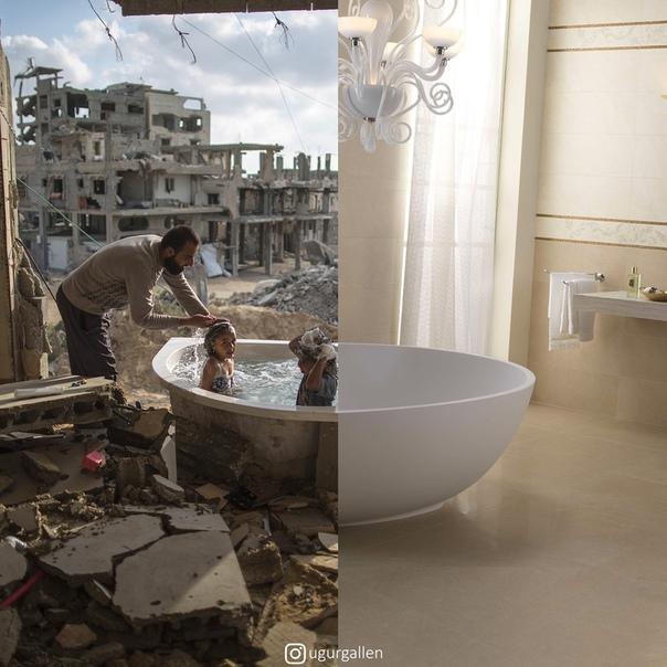 Контрастный мир, в котором мы живем Турецкий художник Угур Галленкуш создает антивоенные фотоколлажи, в которых сталкивает комфортную повседневность безмятежного быта и жуткую реальность зон